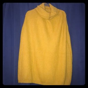 Sweaters - Mustard Turtleneck Poncho
